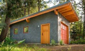 Чертеж каркасного гаража с односкатной крышей