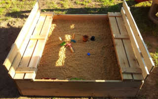 Чертеж песочницы с крышкой скамейкой